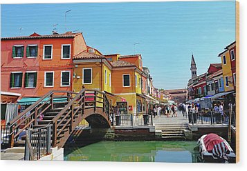 The Main Street On The Island Of Burano, Italy Wood Print