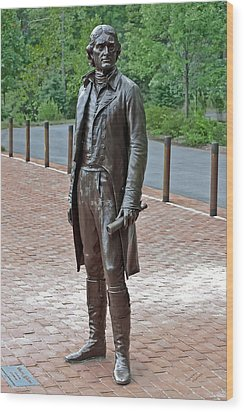The Man Behind Monticello Wood Print by DigiArt Diaries by Vicky B Fuller