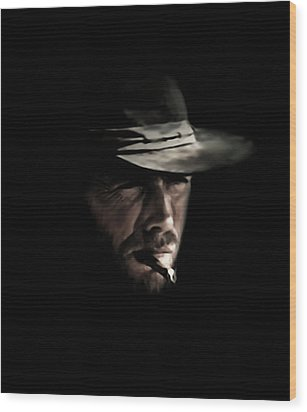 The Man With No Name Wood Print by Laurence Adamson