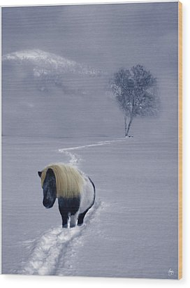 The Mane And The Mountain Wood Print by Wayne King