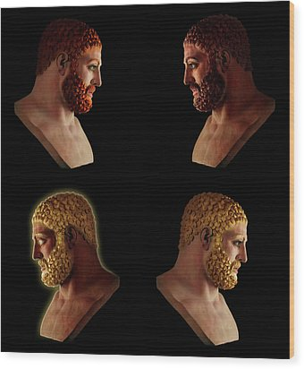 Wood Print featuring the mixed media The Many Faces Of Hercules 2 by Shawn Dall