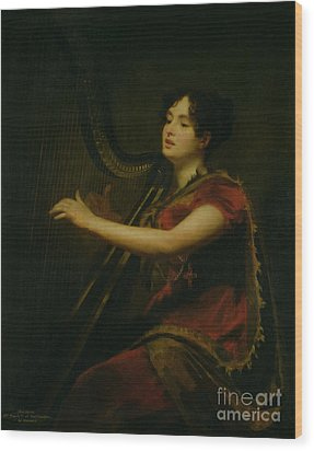 The Marchioness Of Northampton Playing A Harp Wood Print by Sir Henry Raeburn