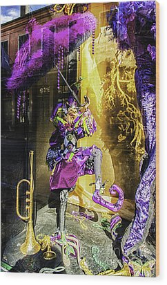 The Mardi Gras Jester Wood Print