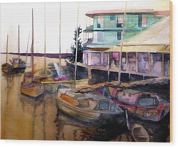 Wood Print featuring the painting The Marina by Jim Phillips