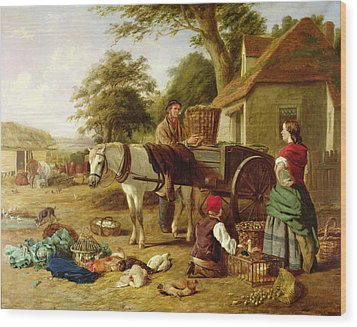 The Market Cart Wood Print by Henry Charles Bryant