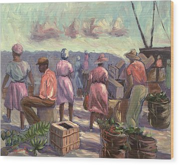 The Marketplace Wood Print by Carlton Murrell