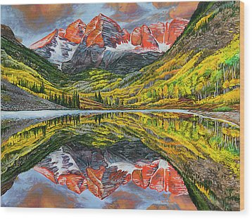 Wood Print featuring the painting The Maroon Bells  by Aaron Spong