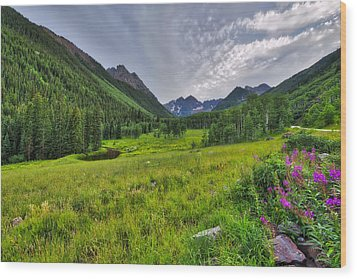 Wood Print featuring the photograph The Maroon Bells - Maroon Lake - Colorado by Photography By Sai