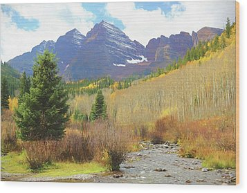Wood Print featuring the photograph The Maroon Bells Reimagined 3 by Eric Glaser