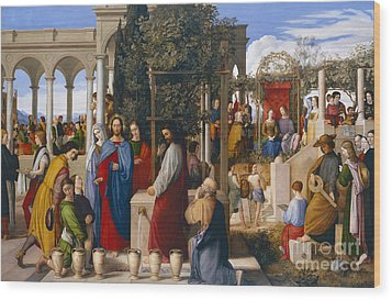 The Marriage At Cana Wood Print by Julius Schnorr von Carolsfeld
