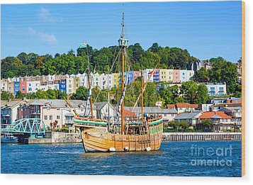 The Matthew In Bristol Harbour Wood Print by Colin Rayner