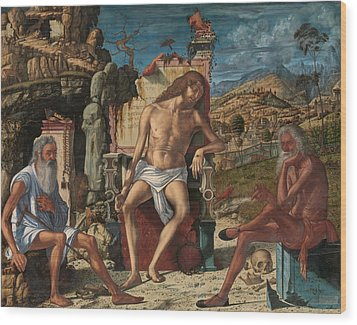 Wood Print featuring the painting The Meditation On The Passion by Vittore Carpaccio