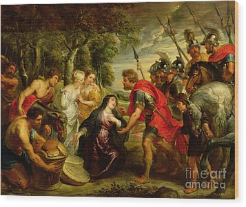 The Meeting Of David And Abigail Wood Print by Peter Paul Rubens