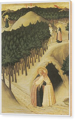 The Meeting Of St. Anthony And St. Paul Wood Print by Sassetta