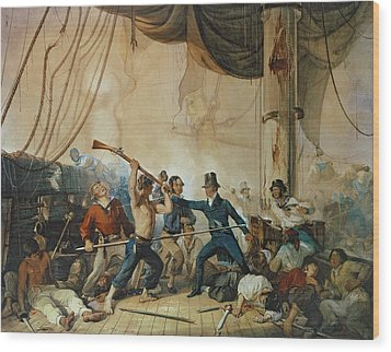 The Melee On Board The Chesapeake Wood Print by Anonymous