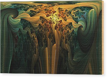 The Melting Earth Wood Print by Digital Art Cafe