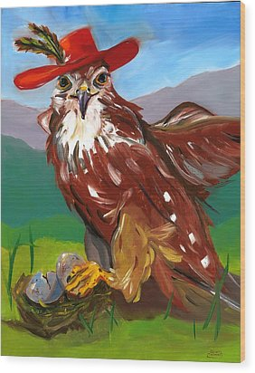 Wood Print featuring the painting The Merlin by Susan Thomas