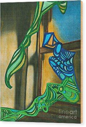 The Mermaid On The Window Sill Wood Print by Sarah Loft