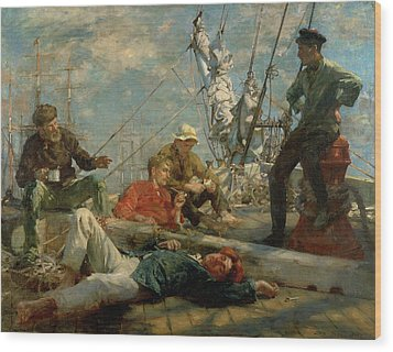 The Midday Rest Sailors Yarning Wood Print by Henry Scott Tuke