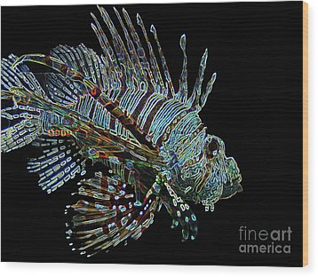 The Mighty Lion Fish Wood Print by Carol F Austin