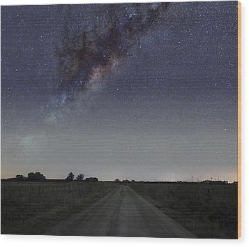 The Milky Way Galaxy Over A Rural Road Wood Print by Luis Argerich