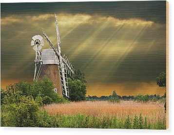 The Mill On The Marsh Wood Print by Meirion Matthias