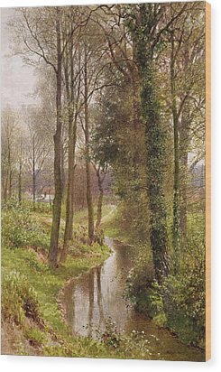 The Mill Stream Wood Print by Henry Sutton Palmer