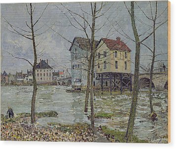 The Mills At Moret Sur Loing Wood Print by Alfred Sisley