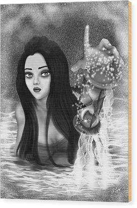 The Missing Key - Black And White Fantasy Art Wood Print
