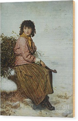 The Mistletoe Gatherer Wood Print by Sir John Everett Millais