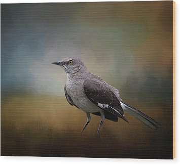Wood Print featuring the photograph The Mockingbird A Bird Of Many Songs by David and Carol Kelly