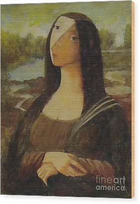 Wood Print featuring the painting The Mona Lisa Next Door by Glenn Quist