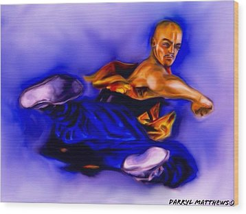 The Monk  Kick. Wood Print by Darryl Matthews