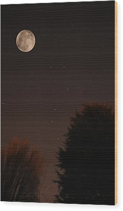 The Moon And Ursa Major Wood Print