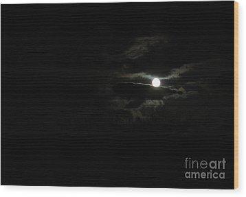 The Moon In Between Wood Print