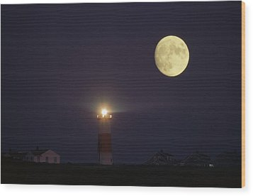 The Moon Shines Above The Sankaty Head Wood Print by James L. Stanfield