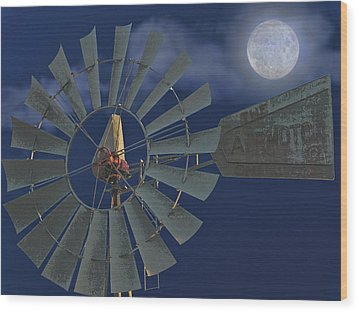 The Moon Spinner Wood Print by Wendy J St Christopher