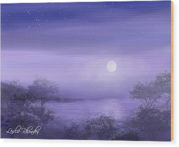 The Moon Will Set Wood Print by Leslie Rhoades
