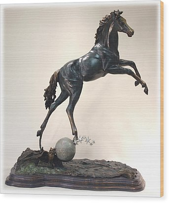 Wood Print featuring the sculpture The Moonhorse Bronze by Dawn Senior-Trask