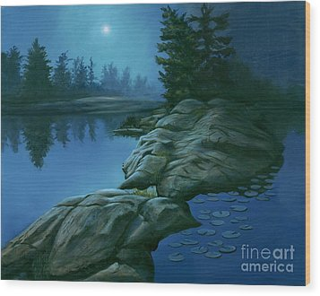 Wood Print featuring the painting The Moonlight Hour by Michael Swanson