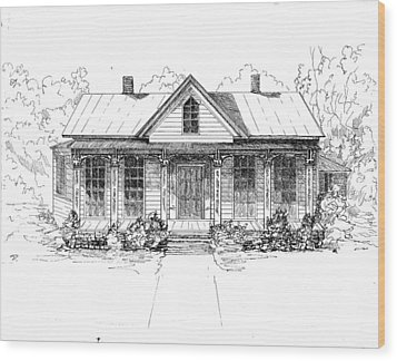 The Moore House Wood Print by Barney Hedrick
