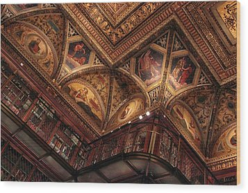 Wood Print featuring the photograph The Morgan Library Ceiling by Jessica Jenney
