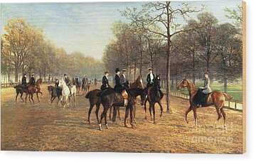 The Morning Ride Rotten Row Hyde Park Wood Print by Heywood Hardy