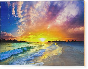 Wood Print featuring the photograph The Most Beautiful Sunset In The World by Eszra Tanner