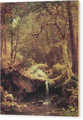 The Mountain Brook Wood Print by Albert Bierstadt