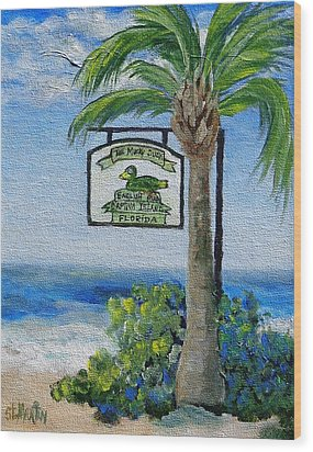 The Mucky Duck Captiva Island Florida Wood Print by Annie St Martin