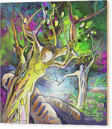 The Multiplication Of Bread Wood Print by Miki De Goodaboom