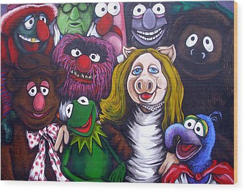 The Muppets Tribute Wood Print by Sam Hane