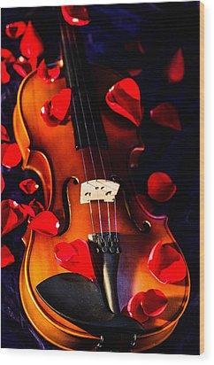 The Musical Rose Petals Wood Print