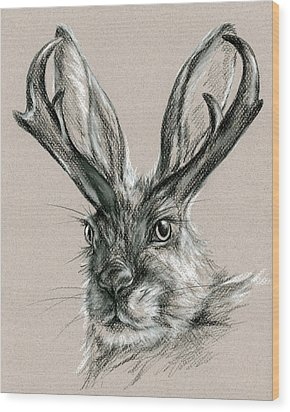 The Mythical Jackalope Wood Print